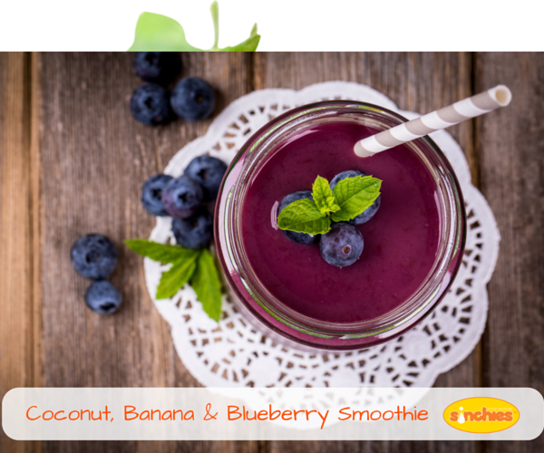 Coconut Banana and blueberry Smoothie
