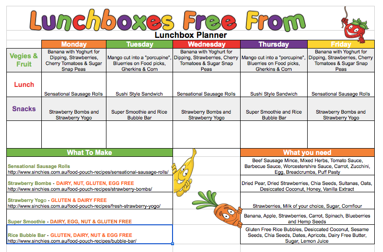 Lunchboxes Free From lunchbox planner