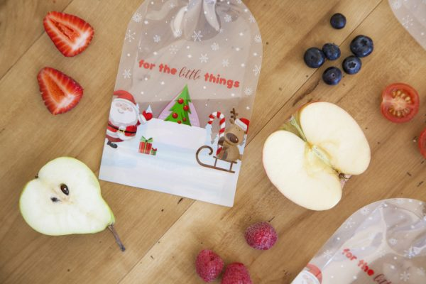 Sinchies reusable ziplock yoghurt pouch Christmas print