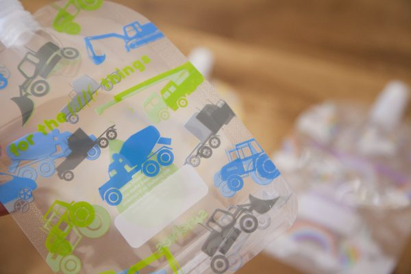 Sinchies reusable food pouch tractors and trucks