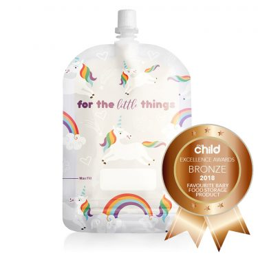 a2d6eab4173 Sinchies Unicorn and Rainbows 150ml Top Spout Reusable Food Pouches Packs  of 5
